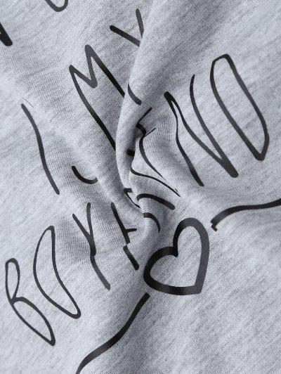 Short Sleeve Letter Print Boyfriend T-Shirt - GRAY L Mobile