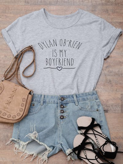 Short Sleeve Letter Print Boyfriend T-Shirt - GRAY S Mobile