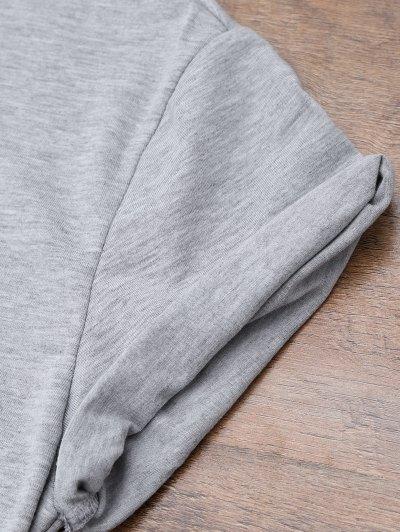 Short Sleeve Letter Boyfriend T-Shirt - GRAY L Mobile