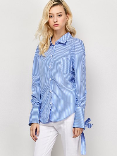 Striped O Ring Back Sleeve Tie Shirt - BLUE AND WHITE XL Mobile