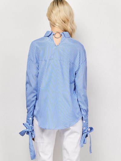 Striped O Ring Back Sleeve Tie Shirt - BLUE AND WHITE L Mobile
