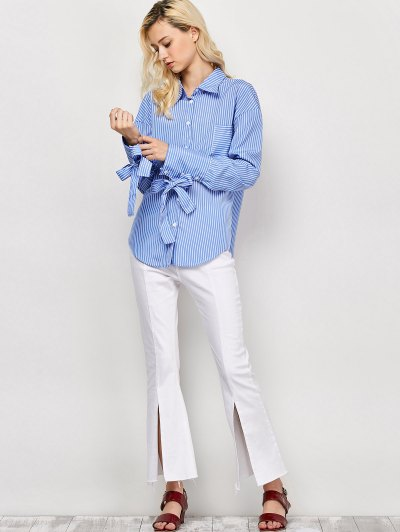 Striped O Ring Back Sleeve Tie Shirt - BLUE AND WHITE M Mobile