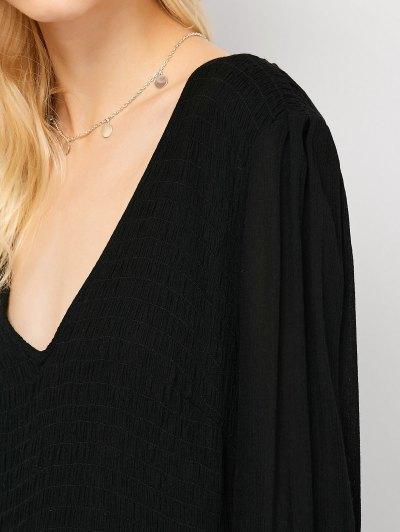 Long Sleeve Open Back Maxi Dress - BLACK XL Mobile