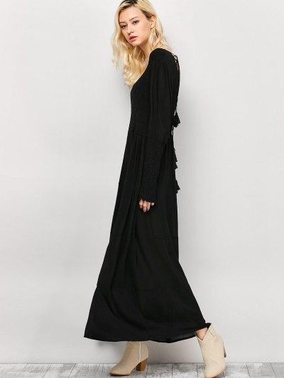 Long Sleeve Open Back Maxi Dress - BLACK M Mobile