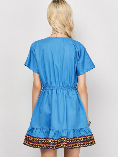 Plunging Neck Embroidered Dress - BLUE S Mobile