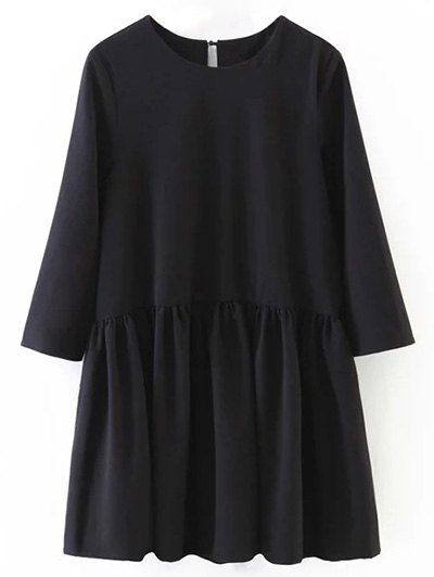 Flounce Ruffles Oversized Blouse - BLACK L Mobile