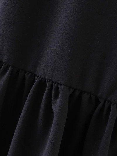 Flounce Ruffles Oversized Blouse - BLACK S Mobile
