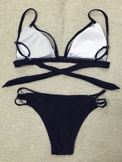 Strappy Thong Bikini - BLACK S Mobile