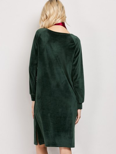 Side Slit Velvet Tunic Dress - GREEN XL Mobile