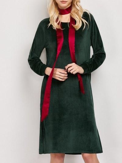 Side Slit Velvet Tunic Dress - GREEN L Mobile
