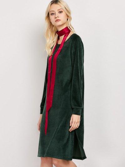 Side Slit Velvet Tunic Dress - GREEN S Mobile