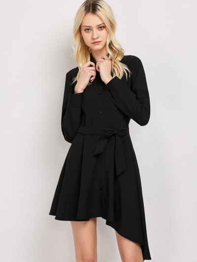 Tie Belt Asymmetric Shirt Dress - BLACK XL Mobile