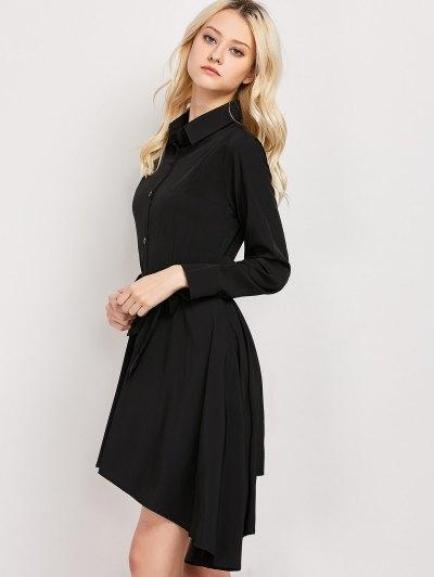 Tie Belt Asymmetric Shirt Dress - BLACK XL Mobile