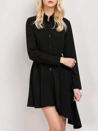Tie Belt Asymmetric Shirt Dress - BLACK L Mobile