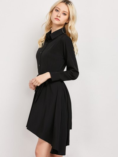 Tie Belt Asymmetric Shirt Dress - BLACK S Mobile