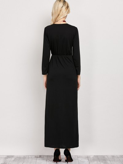 Front Slit Maxi Plunge Dress - BLACK S Mobile