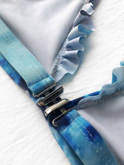 Frilled Plunge Thong Bikini Set - BLUE L Mobile