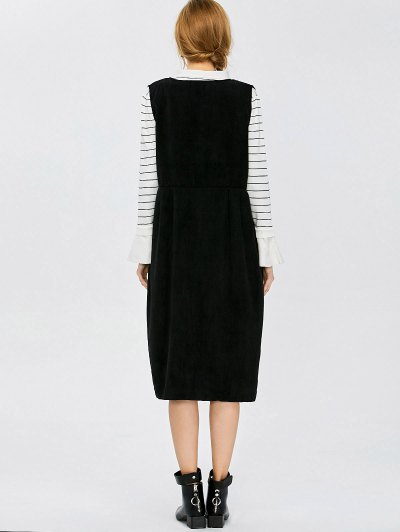 Plunging Neck Suspender Dress - BLACK XL Mobile