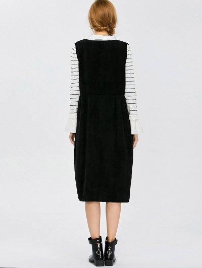 Plunging Neck Suspender Dress - BLACK L Mobile
