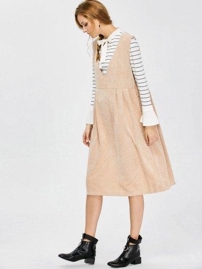 Plunging Neck Suspender Dress - KHAKI L Mobile
