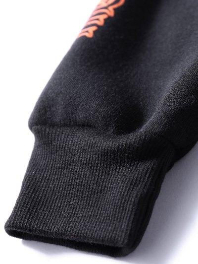 Oversized Velvet Sweatshirt With Letter Print - BLACK ONE SIZE Mobile