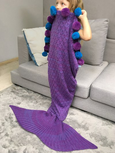 Openwork Pineapple Crochet Kids' Mermaid Blanket Throw - PURPLE  Mobile