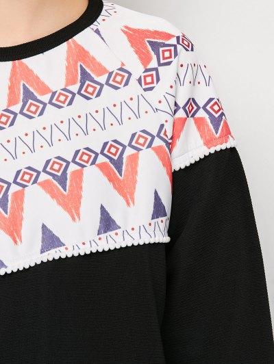 Oversized Geometric Print T-Shirt - BLACK XL Mobile