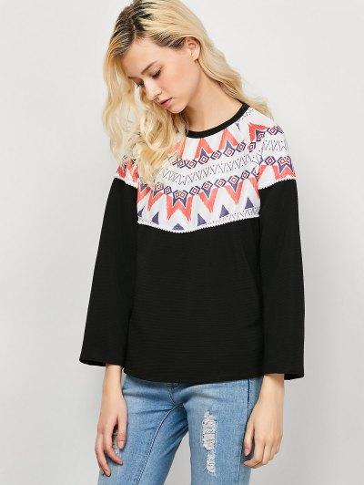Oversized Geometric Print T-Shirt - BLACK L Mobile
