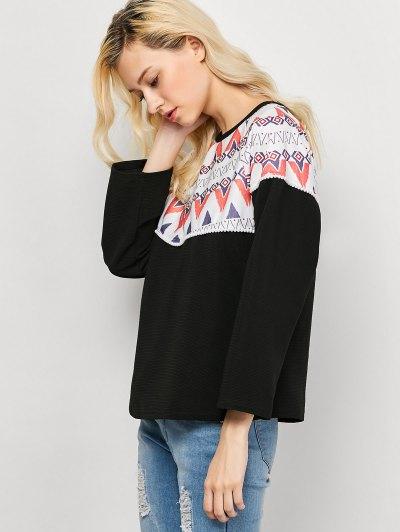 Oversized Geometric Print T-Shirt - BLACK S Mobile