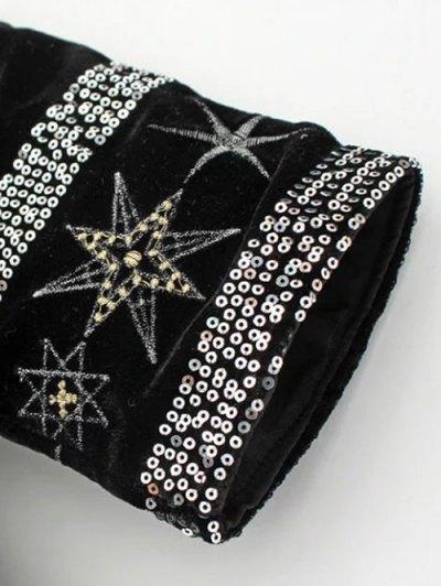 Tasselled Tie Up Velvet Wrap Jacket - BLACK M Mobile