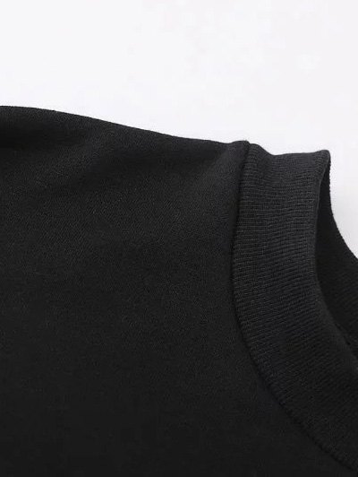 Embroidered Relaxed Pullover Sweatshirt - BLACK M Mobile