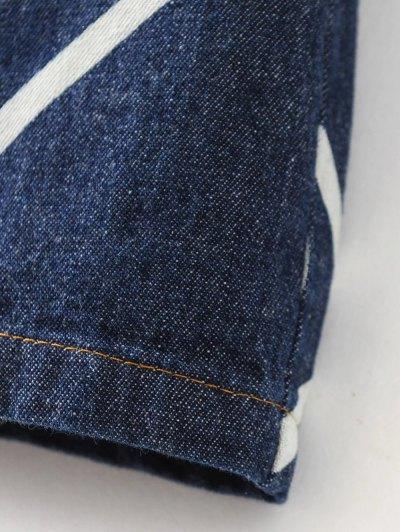 Denim Printed Shirt Dress - BLUE M Mobile