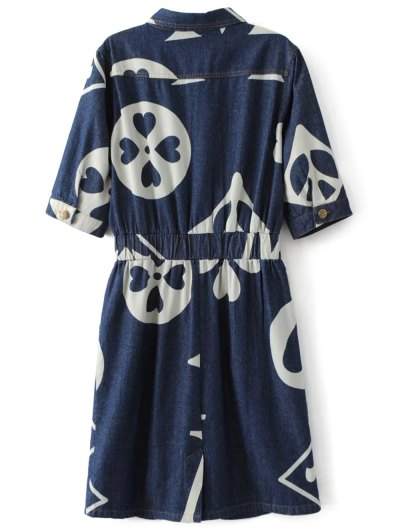 Denim Printed Shirt Dress - BLUE L Mobile