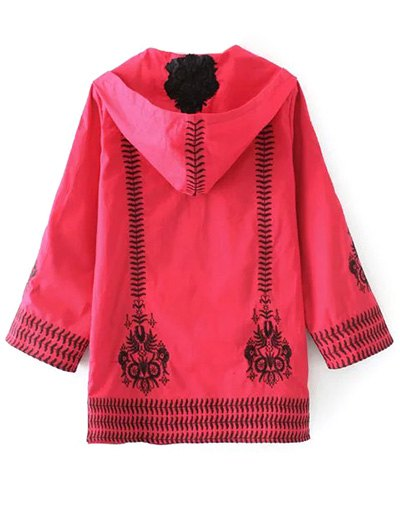 Totem Embroidered Hooded Tunic Dress - RED L Mobile