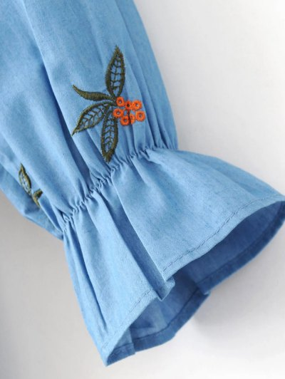 Frilled Chevron Pattern Tunic Dress - BLUE L Mobile