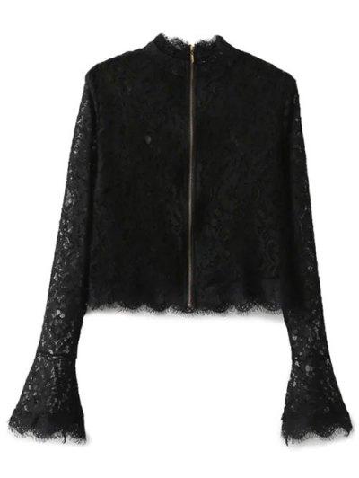 Belled Sleeve Mock Neck Lace Top - BLACK S Mobile