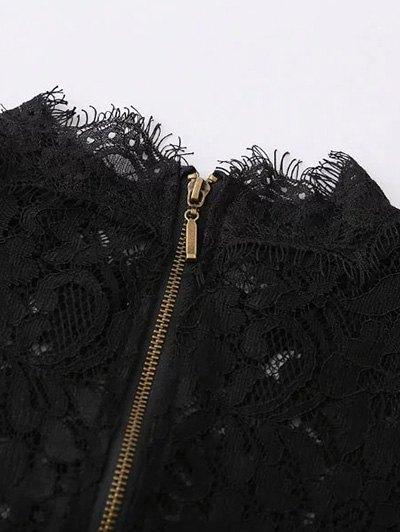 Belled Sleeve Mock Neck Lace Top - BLACK M Mobile