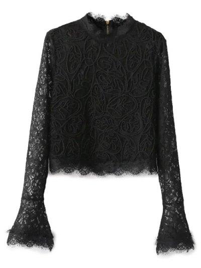 Belled Sleeve Mock Neck Lace Top - BLACK L Mobile