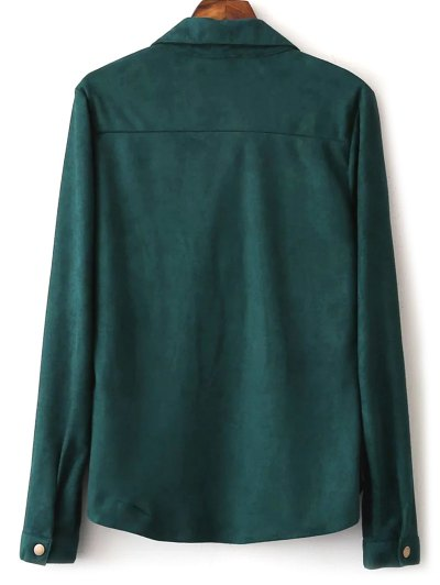 Faux Suede Lacing Pussy Bow Blouse - DEEP GREEN M Mobile