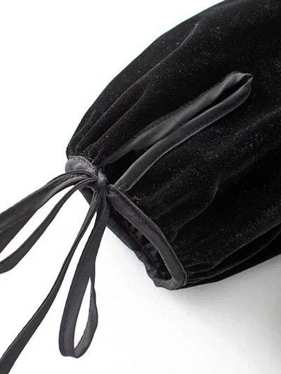 Long Lantern Sleeve Velvet Blouse - BLACK L Mobile