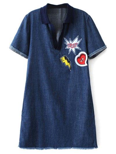 Patch Design Frayed Jean Dress - DENIM BLUE S Mobile