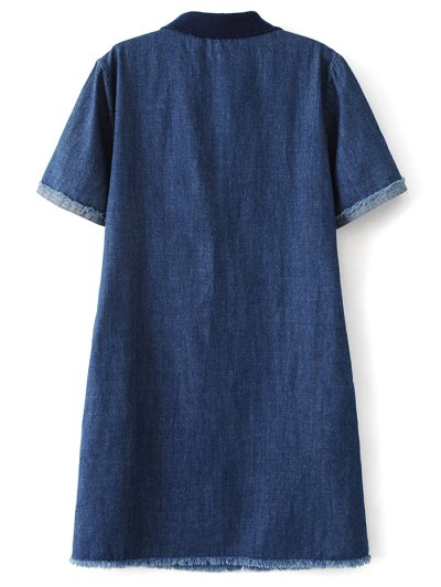 Patch Design Frayed Jean Dress - DENIM BLUE M Mobile