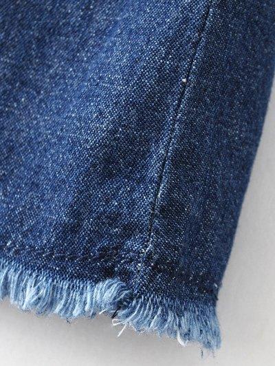 Patch Design Frayed Jean Dress - DENIM BLUE L Mobile