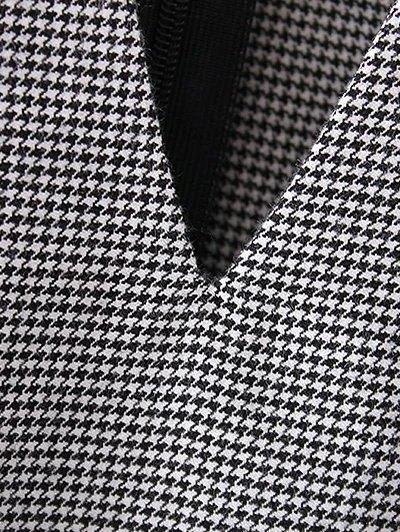 Houndstooth Choker Dress - WHITE AND BLACK S Mobile