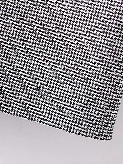 Houndstooth Choker Dress - WHITE AND BLACK M Mobile