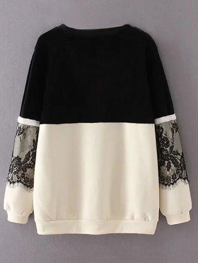 Lace Panel Fleece Lined Sweatshirt - BLACK XL Mobile