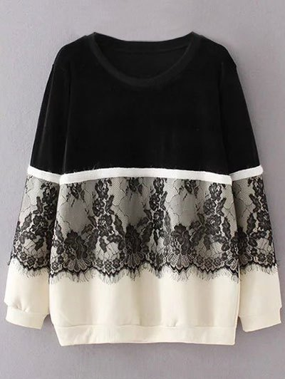 Lace Panel Fleece Lined Sweatshirt - BLACK 3XL Mobile