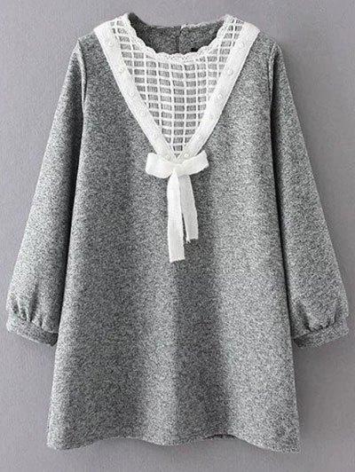 Knit Panel Trapeze Tweed Dress - GRAY XL Mobile