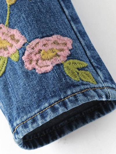 Flower Embroidered Straight Jeans - DENIM BLUE S Mobile