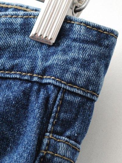 Flower Embroidered Straight Jeans - DENIM BLUE L Mobile